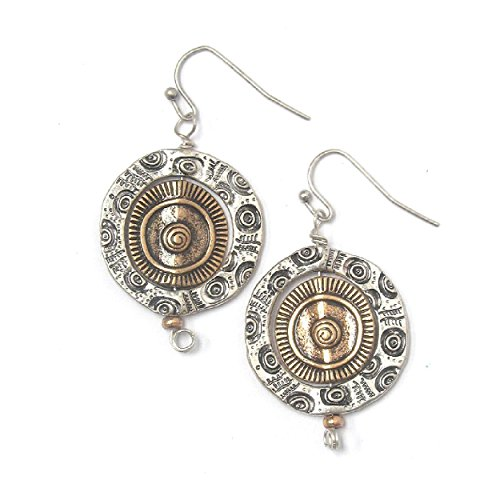 - Round Two Tone Sculptural Egyptian Drop Dangle Disc Circle Earrings, 1.75