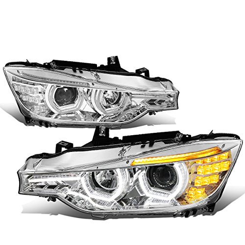 Replacement for BMW F30 3-Series Sedan Wagon 12-16 Chrome Housing Amber Signal LED DRL U-Halo Projector Headlight