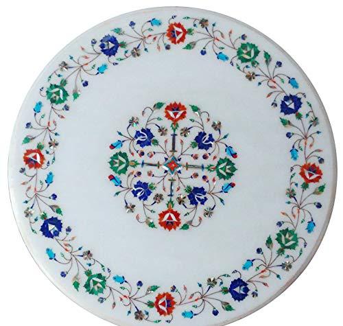 Khusboo Designs Gemstones Marble Coffee Table Inlay Semi Precious Stones Sofa Tables Garden Decor