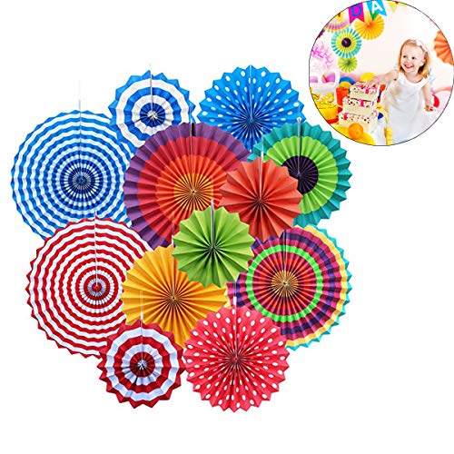12x Round Wheel Hanging Fiesta Paper Fan Decorations, Yotako Hanging Paper Rosette Backdrop Paper Medallions Paper Pinwheels Fan for Wedding Party Baby Shower First Birthday Wall Decor]()