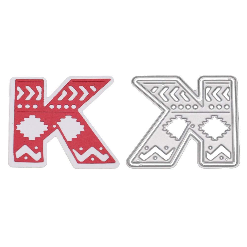 大きなアルファベット文字の切断用ディーステンシル 金属製 DIYスクラップブック用 メタリック B07GXRLN6D K