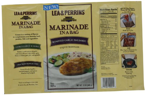 Lea & Perrins Marinade In-A-Bag, Roasted Garlic Balsamic, 12 Ounce (Pack of 10)