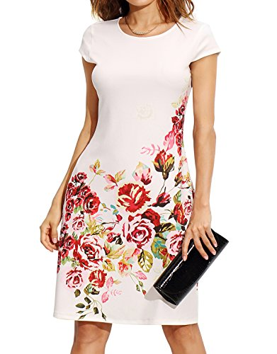 ROMWE Women's Floral Print Short Sleeve Casual Work Office A Line Dress White M