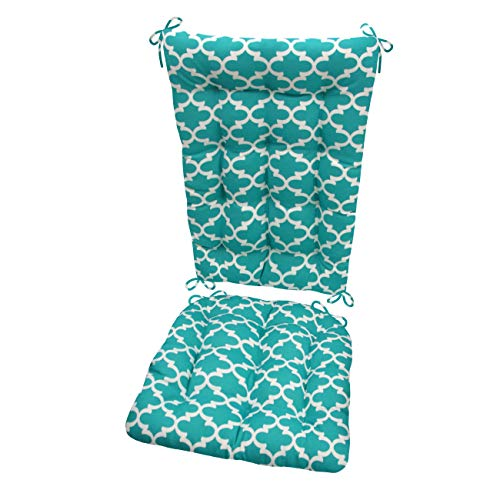 Barnett Products Fulton Aqua Porch Rocker Cushions - Standard - Indoor/Outdoor: Fade Resistant, Mildew Resistant - Latex Foam Filled Cushion - Reversible, Made in USA (Teal/White, Quatrefoil) (Green Cottage Rocker)