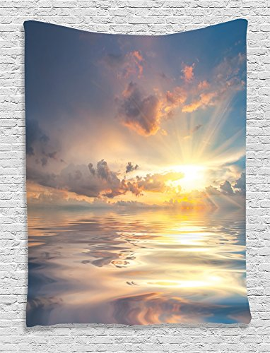 Ambesonne Ocean Decor Collection, Mystic View of Sunset Over Sea with Reflection in Water Majestic Clouds in the Sky Picture, Bedroom Living Room Dorm Wall Hanging Tapestry, Blue White - Mystic Tapestry