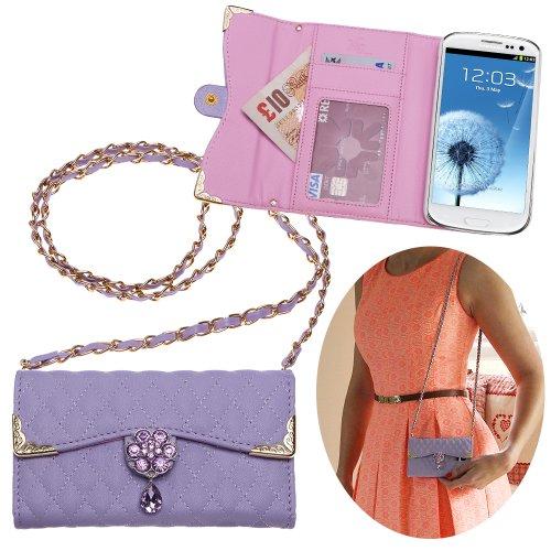 Xtra-Funky Exclusivo Lujo acolchado de cuero de imitación bolso Tipo de caja con correa de transporte y bellamente decorada la flor cristalina para Samsung Galaxy S3 (i9300) - Púrpura (Incluye una min Púrpura