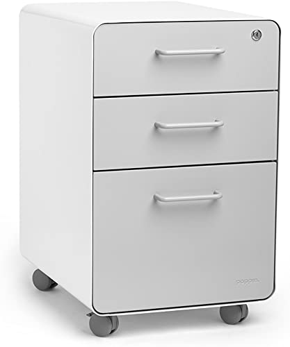 Poppin White Light Gray Stow Rolling 3-Drawer File Cabinet, Available in 10 Colors, Legal Letter