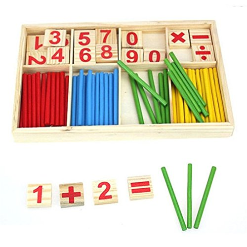 UNKE Children Counting Stick Calculation Math Educational Toy Wooden Number Cards and Counting Rods with Box Educational Toy