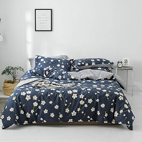 VClife Kid Duvet Cover Sets Cotton Bedding Sets Twin Navy Blue White Boho Hotel Bedding Collections Flower Pattern Stripe Geometric Print with Zipper Closure 1 Duvet Cover 2 Pillowcases Twin