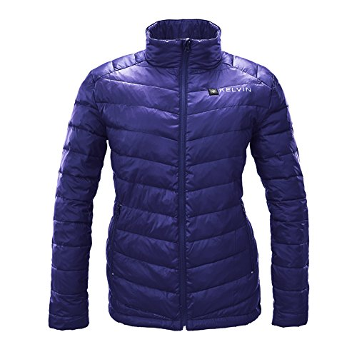 Kelvin Heated Jacket For Women - 5 Heat Zones + 10Hr Battery For The Finest Heated Coat | charges Cell Phones, Extreme Weather + Rip Resistant, 90/10 Duck Down Puffer (Weather Resistant Phone)