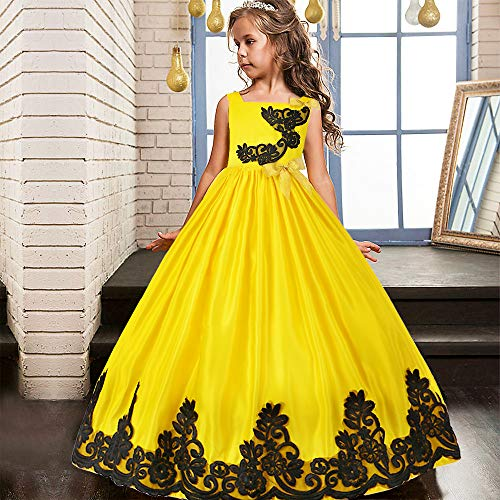 HUANQIUE Girls Pageant Wedding Dresses Party Flower Girl Embroidered Gowns Yellow 13-14 ()
