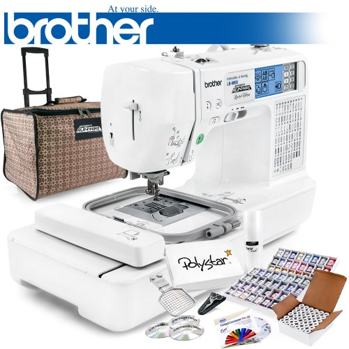 Brother LB-6800PRW Project Runway Computerized Sewing Embroidery Machine w/ USB Port and Grand Slam Package Includes 64 Embroidery Threads with Snap Spools + Prewound Bobbins + Cap Hoop + Stabilizer + 15,000 Embroidery Designs + Scissors ($1,170 Value) (Brother Embroidery Cds compare prices)