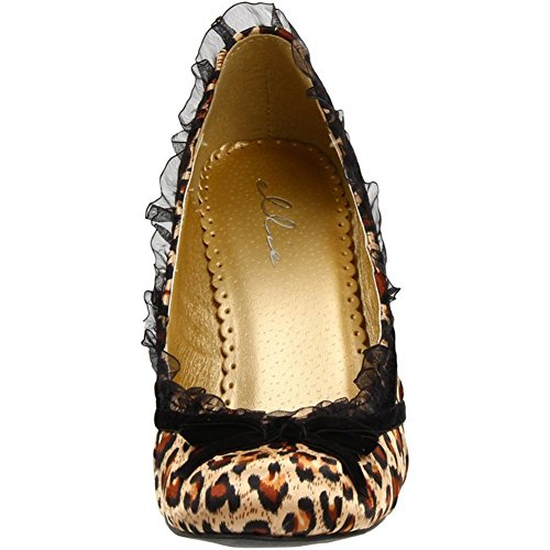 Ellie Shoes Donna Leopardata 406-doll In Raso