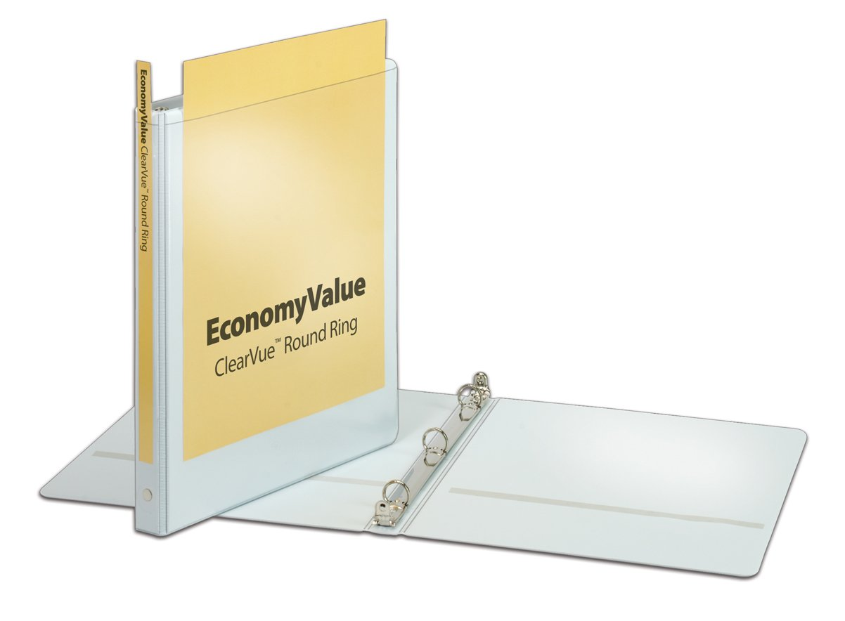 Cardinal Economy Value ClearVue 5/8-Inch Round Ring Binders, 125 Sheet Capacity, White, Case of 12 Binders (90601)
