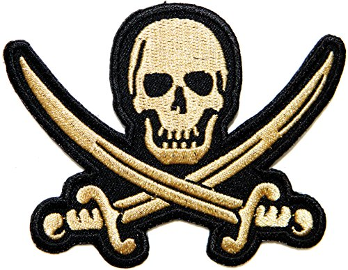Pirates Of The Caribbean Comforters (Gold Pirate Jolly Skull Ghost Cross Sword Logo Punk Rock Hevery Metal Rockabilly Lady Rider Biker Tatoo Jacket T-shirt Patch Sew Iron on Embroidered Sign Badge Costume)