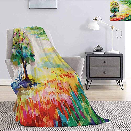 Luoiaax Nature Soft Throw Blanket for Bed Couch Colorful Hand Drawn Flowers Grass and Trees Forest Rural Scenery Watercolors Artwork Lightweight Life Comfort Blanket W60 x L80 Inch Multicolor