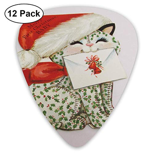 DFNRF Merry First Christmas Baby Christmas Kitten Guitar Pick 0.46mm/0.73mm/0.96mm 12pack,Unique Designs in Assorted Colors