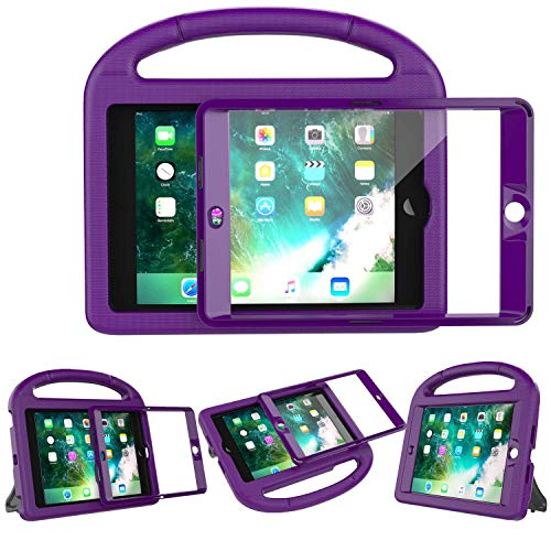 LEDNICEKER Kids Case Built-in Screen Protector for iPad Mini 1 2 3 - Shockproof Handle Kidproof Friendly Foldable Stand Child Case for iPad Mini 1st 2nd 3rd Generation - Purple (Stand 2 Ipad Cases Up That)
