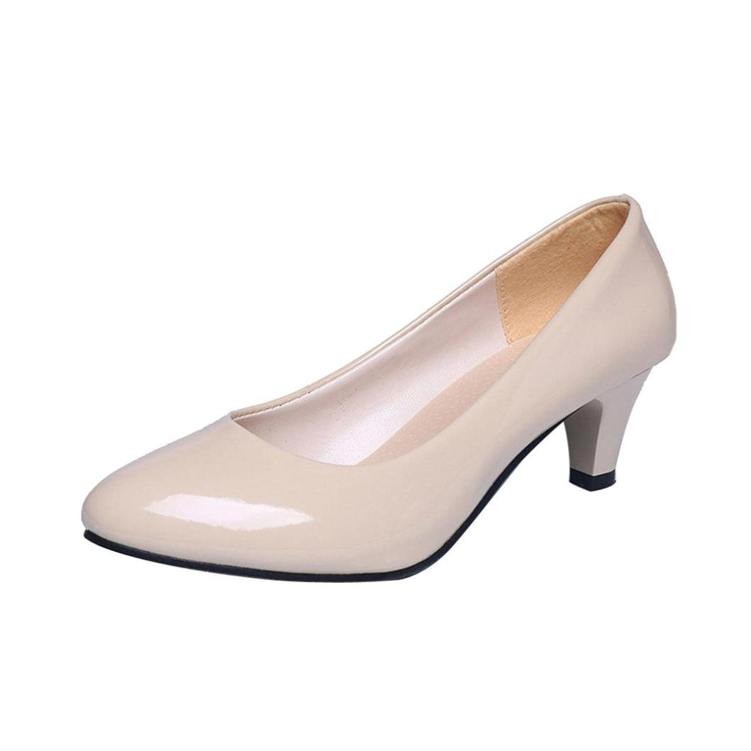 DENER Women Ladies Girls Stiletto Pumps,Low Heels Slip on Pointed Toe Wide Width Comfortable Business Work Shoes Mules (Beige, 36)
