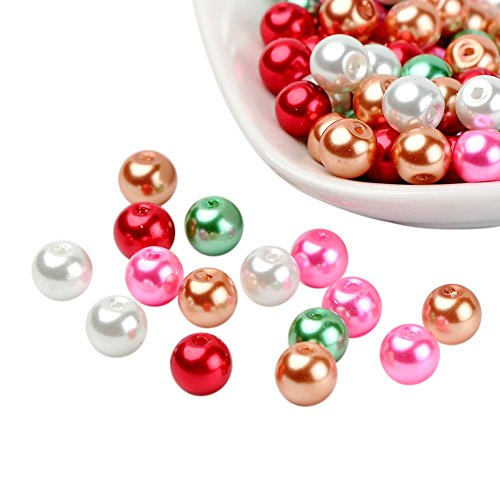 Pandahall 1 Bag(about 100pcs) 8mm Mixed Color Pearlized Glass Pearl Beads - Christmas Mix (Glass Red Mixed)