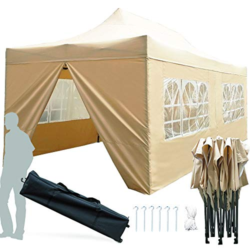 KingShade 10×20 Canopy Tent, Heavy Duty Commercial Pop Up Canopies, Waterproof Outdoor Wedding Tents with Walls and Roller Bag-Beige 10 x20