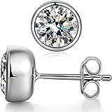 Bezel Stud Earrings Sterling Silver Cubic Zirconia CZ Bezel Stud Earrings 7mm Bezel-Set Martini Stud Earrings Simple Fake Diamond Stud Earrings,Silver Post Earrings Cubic Zirconia Solitaire Earrings