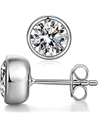 ZowBinBin 925 Sterling Silver Bezel-Set Stud Earrings,Round Cut CZ Bezel Stud Earrings