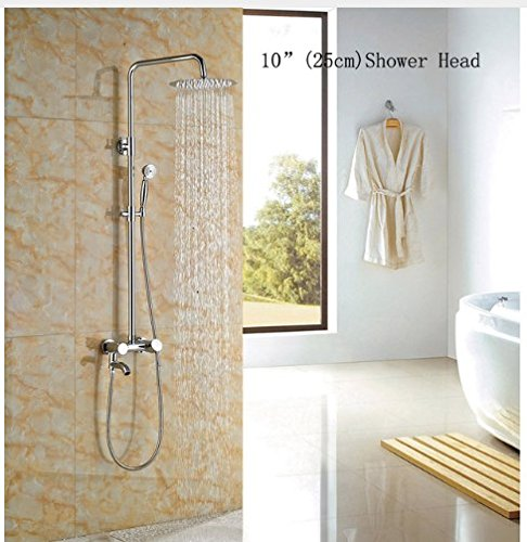 Gowe 10-in Chorme Polish Shower Set Bathroom Wall Mounted Single Handle Mixer Faucet Square Shower Head 0