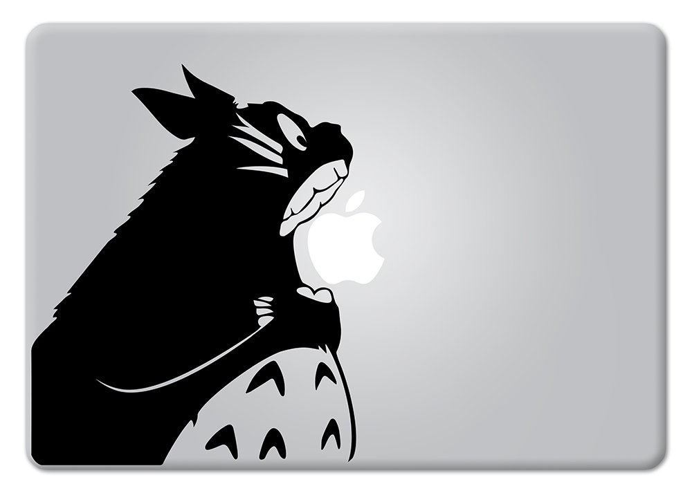 Amazon com totoro biting apple my neighbor totoro studio ghibli apple macbook decal vinyl sticker apple mac air pro retina laptop sticker computers