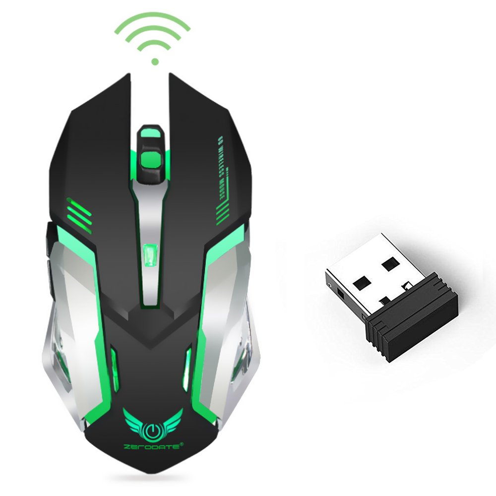Wireless Optical Gaming Mouse with USB Receiver LinkStyle Color Changing Wireless Laptop Mouse, Rechargeable Game Mice with 4 Adjustable CPI Levels for PC, Laptop, Computer, Macbook & Gaming Players by LinkStyle (Image #1)
