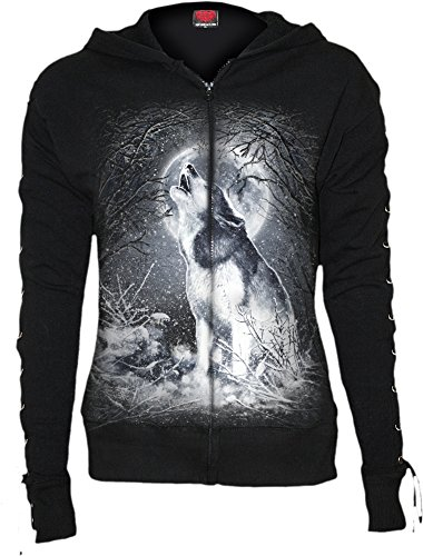 Spiral - Womens - WHITE WOLF - Laceup Full Zip Glitter Hoody Black - XL (Rock Sweatshirt Zip Star)