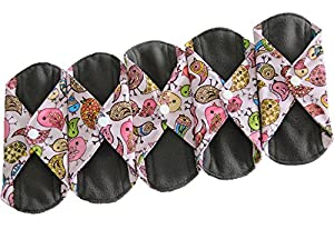 Heart Felt Bamboo Reusable Cloth Menstrual Pads (5 Pack Bird Print) with Charcoal Absorbency Layer, Washable Sanitary Napkins, Overnight Long Panty Liners