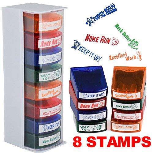 8 Self Inking Reward School Stamps Positive Student Marking