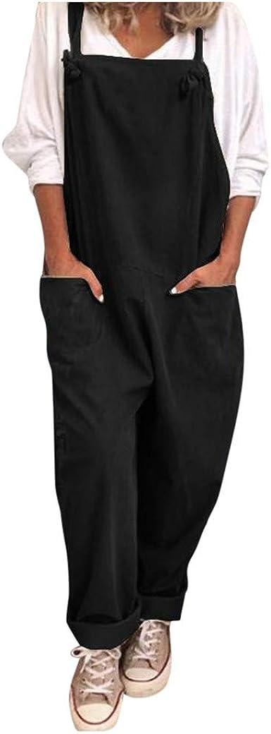 Womens Linen Cotton Baggy Jumpsuit Loose Playsuit Dungarees Overalls Plus Size.^