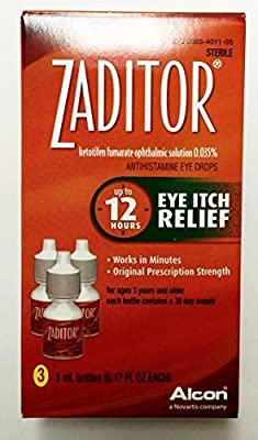 Zaditor Antihistamine Eye Itch Relief Drops, 5 ml bottle 3 Count by Alcon