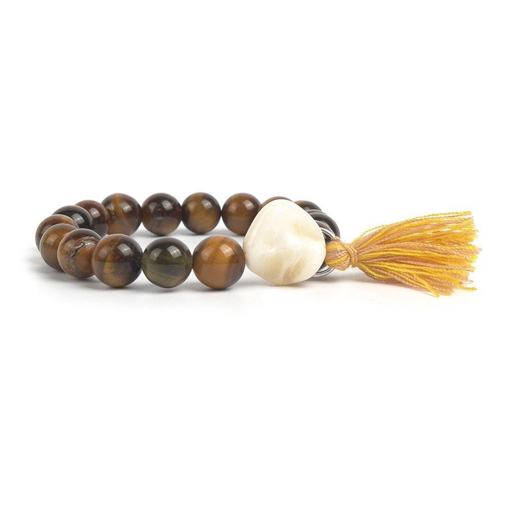 Bracelet Women Chakra Boho Tiger's Eye Tassel Charm Mala Handmade Healing Power Gemstone Buddhist