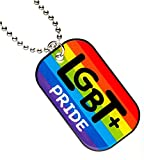 """LGBT+ Dog Tag with 24"""" Military Style Ball Chain (Enamel Pride Rainbow)"""