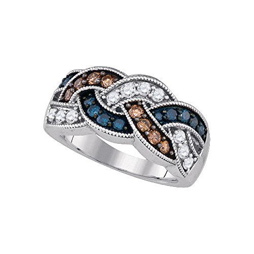 Size - 10 - Solid 10k White Gold Round Chocolate Brown Blue And White Diamond Channel Set Curved CrossOver Wedding Band OR Fashion Ring (1.0 cttw) Chocolate Diamond Wedding Bands