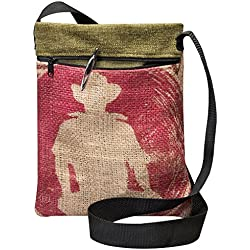 Eco-Friendly, Upcycled Coffee Bean Burlap Crossbody Bag With Black Webbed Handles, Made In The USA, By Sackcloth & Ashes (Coffee Man)