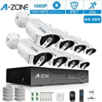 Security Camera System A-ZONE Security 1080p 8 Channel PoE IP Security Surveillance Camera System with 8 Outdoor/Indoor 1080P Security Camera, Free Remote View, Super HD Night Vision- No Hard drive