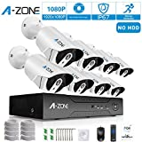 Security Camera System, A-ZONE Security 1080p 8 Channel PoE IP Security Surveillance Camera System with 8 Outdoor/Indoor 1080P Security Camera, Free Remote View, Super HD Night Vision- No Hard drive