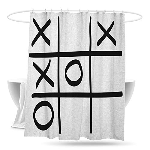 Waterproof Bathtub Curtain Xo Tic Tac Toe Pattern Unfinished Game Hobby Theme Alphabet Minimalist Artful Image Shower Curtains in Bath W59×L70 Black and White ()