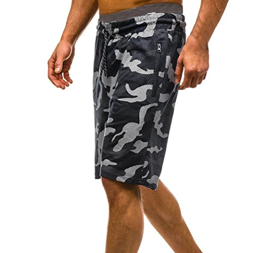vermers Mens Summer Casual Cargo Shorts 2018 Camouflage Short Pants(M, Black) by vermers (Image #3)