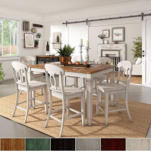 Inspire Q Classic Elena Antique White Extendable Counter Ight Dining Set - Napoleon Back by Oak 4 7-Piece Sets