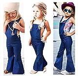 Franterd Baby Girls Boys Straps Rompers Denim Harem Overall Backless Jumpsuit Jumper Bell Bottom Flares Trousers (5T, Blue)