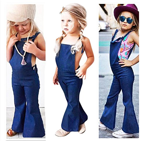 Blue Denim Jumper - Franterd Baby Girls Boys Straps Rompers Denim Harem Overall Backless Jumpsuit Jumper Bell Bottom Flares Trousers (3T, Blue)