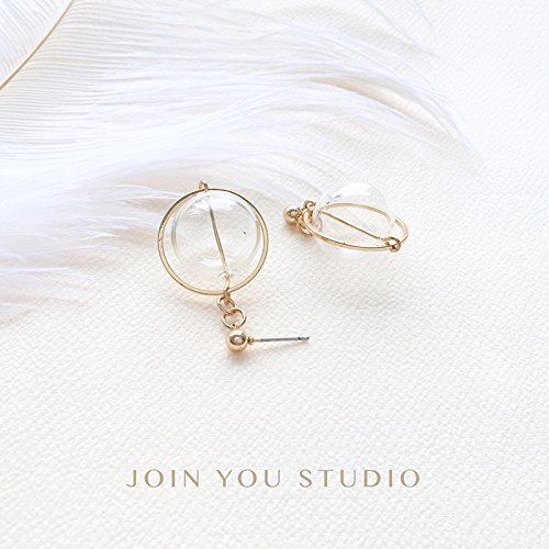 usongs alloy earrings exaggerated personality elegant goddess girls creative glass ball earrings earrings ()
