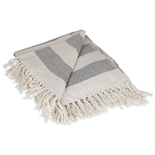DII Rustic Farmhouse Cotton Cabana Striped Blanket Throw with Fringe For Chair, Couch, Picnic, Camping, Beach, Everyday Use, 50 x 60