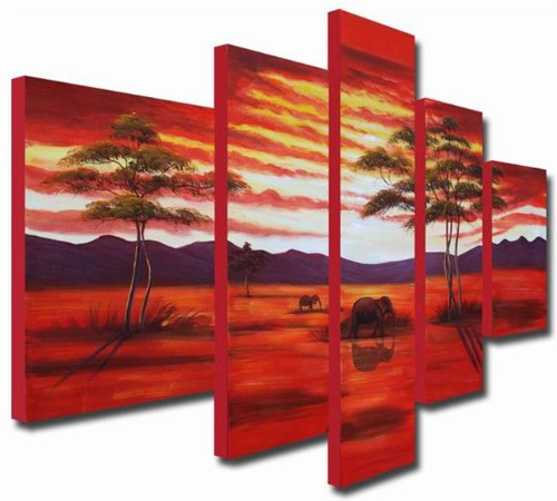 Sangu 100% Hand Painted 5-Piece Sunset Africa Elephants for Landscape Oil Paintings Gift Canvas Wall Art Paintings For Living Room.