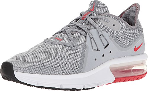 Nike Air Max Sequent 3 GS Big Kids Running Trainers (7 Y US, Cool Grey University red) (Nike Air Max 90 Red And Grey)